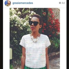 Regram from #Styleblogger #Fashionblogger @Grasie Mercedes | Style Me Grasie in #LineandDot #Spring14 #CandySparkle #MissCali #SummerTweed #Top LT1396D (at www...