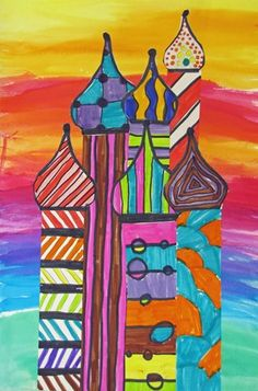 - the graders fo their own take on st. Architecture Sketchbook, Art And Architecture, 2nd Grade Art, Art Rules, Elements And Principles, Typography Poster, Drawing For Kids, Teaching Art, Op Art