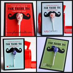 Free Valentine's Day Printable Cards ~ Fan {Tache} Tic! ~ at TheFrugalG Valentine Free Valentine Cards, Printable Valentines Day Cards, My Funny Valentine, Homemade Valentines, Valentine Day Love, Valentine Day Crafts, Printable Cards, Holiday Crafts, Holiday Fun