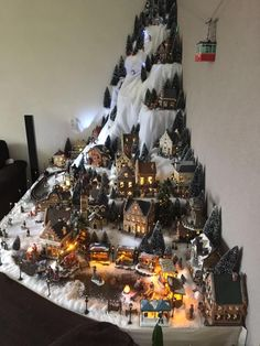 35 Stunning Christmas Village Display Ideas For Home Decoration - You can make embellishments and accessories for your Christmas village scene and make it more personal and unique. Have some fun creating decorations . Christmas Tree Village Display, Christmas Town, Christmas Scenes, Christmas Villages, Noel Christmas, Christmas Projects, Lemax Christmas Village, Christmas Ornaments, Diy Christmas Village Platform