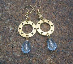 And All That Jazz Dangle Earrings $10.00 - handmade using recycled vintage hammered metal disks and pale blue facetted teardrop beads - eco-friendly, urban chic