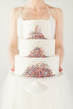 Brides: Sprinkle Wedding Cakes: A Pinterest-Approved Wedding Trend | Cake by Eileen Carter Creations | Photography by Rustic White Photography