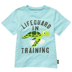 "He's a life-saver in this cute ""Lifeguard in Training"" tee with turtle graphic that's perfect for playtime."