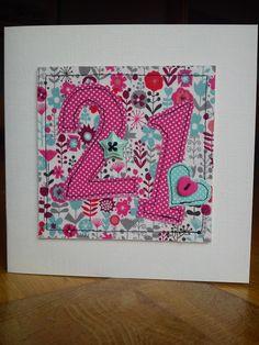Handmade machine sewn 21st birthday card made with Moda fabrics and buttons