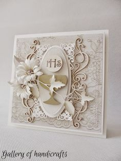 Gallery of handicrafts First Communion Cards, Holy Communion Invitations, First Holy Communion, Cute Cards, Diy Cards, Sympathy Cards, Greeting Cards, Christian Cards, Quilling Paper Craft