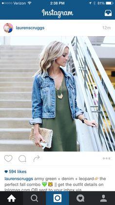 Blue jean jacket green dress