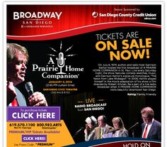 Any Garrison Keillor fans in the house!? A Prairie Home Companion returns to The San Diego Civic Theatre for a Live Radio Broadcast on January 4th, 2014!