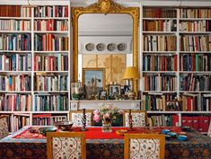 Bookshelf styling inspo from Bibliostyle #bookshelf #bookshelves #shelfgoals Terrazzo Tile, Tiling, Ceiling Shelves, Bookcase Organization, Scenic Wallpaper, Concrete Architecture, Library Wall, Best Decor, Eclectic Furniture