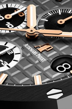 "An eye-catcher! Black dial with ""Méga Tapisserie"" pattern. Royal Oak Offshore Selfwinding Chronograph Pride of Germany - Ref. Audemars Piguet Gold, Audemars Piguet Diver, Audemars Piguet Watches, Gentleman Watch, Royal Oak Offshore, Watch Companies, Luxury Watches, Catcher, Chronograph"