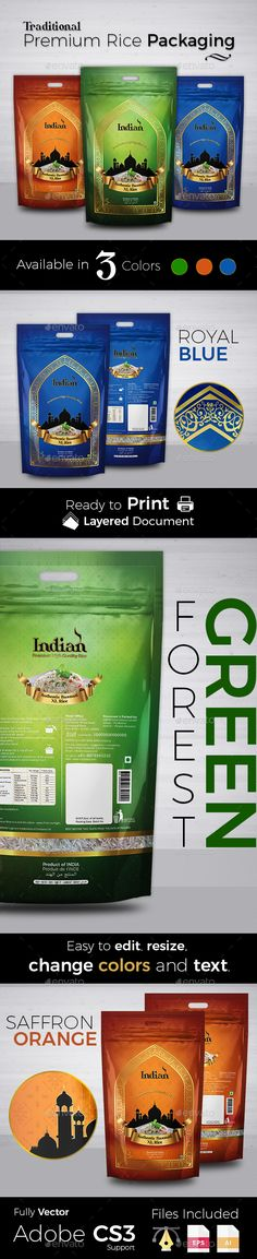 Traditional Premium Rice Packaging - Packaging Print Templates