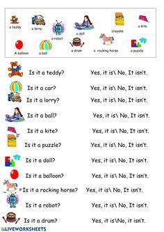 Toys Interactive worksheet English Worksheets For Kindergarten, 1st Grade Worksheets, Reading Worksheets, Kindergarten Writing, English Lessons For Kids, Kids English, English Book, Body Parts Preschool, English Exercises