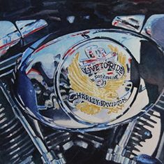 Live To Ride #3 by Tammy Meeske Watercolor, framed ~ 12.5 x 12.5