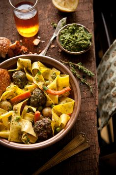Roasted Vegetable Pappardelle with Carrot Top Pesto