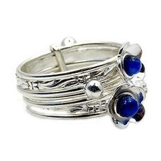 'Daisy' Sterling Silver Lapis Lazuli Multi-stack Ring, Size 7  Price : $38.85 http://www.silverplazajewelry.com/Daisy-Sterling-Silver-Lazuli-Multi-stack/dp/B00M71U24O