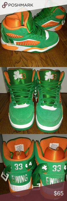 Men Patrick Ewing's. In New Condition In new condition. Worn Once. Size: 8.5. With the Luck Of The Irish Symbol. St. Patrick's day. Ewing's #33. Make Offers. Would say brand new if wasn't worn once. Patrick Ewing Shoes Sneakers