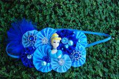 OTT Cinderella themed fabric yoyo headband. Perfect for a Disney trip, Cinderella birthday or photo shoot. www.facebook.com/photo.php?fbid=607540615933796=a.607538302600694.1073741827.212300452124483=1