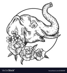 Buy Elephant Animal Engraving Vector by AlexanderPokusay on GraphicRiver. Black and white hand drawn image. Elephant Head Tattoo, Elephant Tattoo Design, Elephant Design, Elephant Head Drawing, Elephant Drawings, Elephant Sketch, Elephant Love, Elephant Art, Elephant Trunk