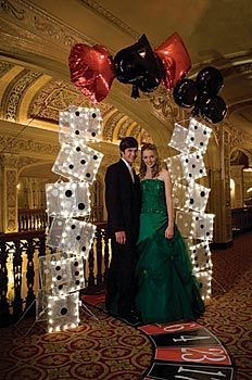 Use our lighted dice column and card suit mylar balloons to decorate for your casino event.: