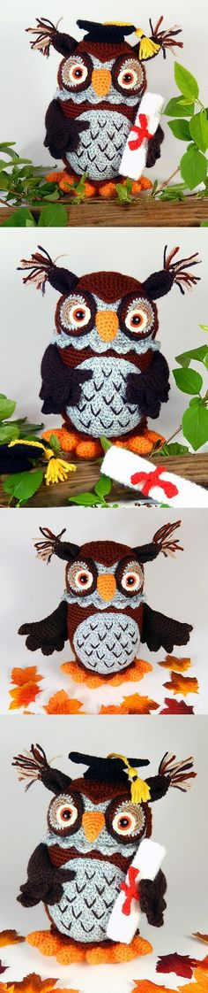 Wesley the wise owl amigurumi pattern by Janine Holmes at Moji-Moji Design