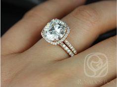 Rosados Box Barra 10mm Rose Gold Round FB Moissanite and Diamond Cushion Halo Classic Wedding Set