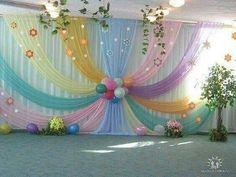 Beautiful Curtains Decorations for Birthday Parties - ArtCraftVila Diy Backdrop, Backdrop Decorations, Balloon Decorations, Birthday Party Decorations, Baby Shower Decorations, Wedding Decorations, Birthday Parties, Spring Decorations, Birthday Backdrop