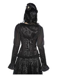 Black VTG Victorian Flocked Maleficent Corset Shirt Top (Front View )   Banned