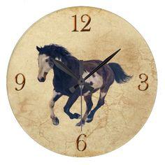 Galloping Pinto American Paint Stallion Horse Clock
