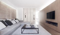Modern White and Wood Spanish Apartment - Design Milk Spanish Apartment, Living Room Designs, Living Spaces, Modern Apartment Design, Contemporary Apartment, Minimalist Interior, Home And Living, Interior Architecture, House Design