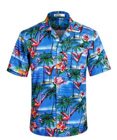 9e1da9da3e3d Men's Hawaiian Shirt Crane Pattern Short Sleeve Aloha Shirts - Hw005 -  C3185LD7W94