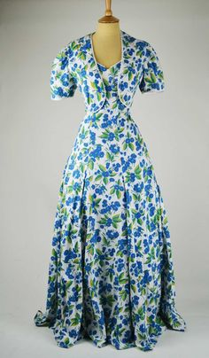 1940s Vintage Evening Gown White and Blue Floral Cotton with Bolero - Swoon.