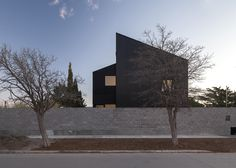 Cluster of houses featured sloped roofs and black metal cladding