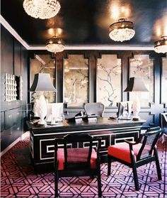 Dark and glamorous office with asian inspired artwork | Lonny