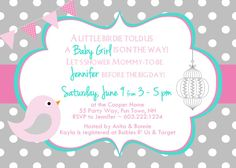Birds Baby Shower Invitation Girl Pink Turquoise Gray - Bird Polka Dots Shower - Pink Turquoise Gray - Bunting Banner - Birdcage Baby Shower