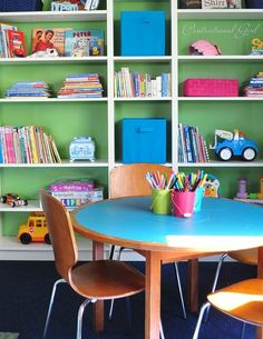 Billy bookcase from Ikea with added crown moulding Modern Playroom, Baby Playroom, Playroom Ideas, Playroom Decor, Playroom Flooring, Playroom Furniture, Painted Bookshelves, Ikea Billy Bookcase, Kids Play Spaces