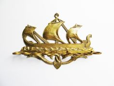 Vintage French Brass Pipe Rack pipe holder wall hanging Viking boat Sailing Ship Bireme 850 water dragons, spoon holder 8 support smoker by EbyVintage on Etsy