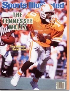 Tony Robinson- My Daddy has a signed copy by Tony hanging in his office. A special gift from my Uncle who passed away a year later. It is probably one of the most special Tennessee pieces my Daddy owns. Tennessee Volunteers Football, Tennessee Football, University Of Tennessee, College Football Teams, Football Program, Football Helmets, Vol Nation, Neyland Stadium, Si Cover