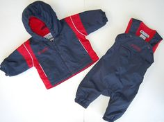 Columbia Snowsuit 6M Navy Blue Red Two Piece Hood Lined 6 Months #Columbia #Snowsuit #Everyday