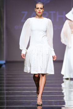 Embossed cotton dress with chiffon sleeves by ZARTH