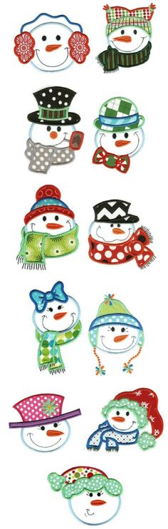 Embroidery | Applique Machine Embroidery Designs | Snow Buddies Applique: Christmas Rock, Christmas 2017, Christmas Snowman, Christmas Projects, Christmas Holidays, Christmas Ornaments, Christmas Signs, Felt Ornaments, Cute Snowman