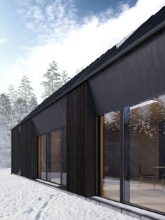 Beautiful modern prefab home that reflects the Swedish vernacular house with its gabled roof shape designed for a couple or family by Claesson Koivisto Rune Modern Prefab Homes, Prefabricated Houses, Black Architecture, Architecture Details, Roof Shapes, Black House Exterior, Exterior Doors, Modern Barn, Scandinavian Home