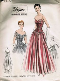 """Vogue Couturier 771, ca. 1953 - very rare and STUNNING!  Bust 30; Factory Folded; acquired on eBay 10/6/12 for 105 dollars.  Can you believe it takes over 13 yds of chiffon!?...Think I might make it """"tea length"""" ;-)"""
