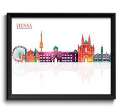 Vienna Skyline City Colorful Cityscape Austria Europe Famous Landmarks Poster Print Modern Abstract Landscape Art Painting Etsy $1.20+