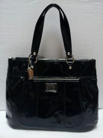 FREE SHIP - NWT ! COACH POPPY GLAM TOTE BLACK ONYX PATENT LEATHER BAG 17944 MSRP $258 + TAX