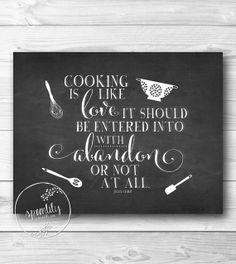 Julia Child Kitchen Art, Kitchen decor, Kitchen art print, Kitchen typography sign, Kitchen printable - Chalkboard - kitchen utensils