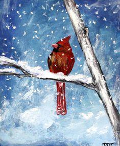 "Winter Cardinal on 8"" x 10"" canvas board. Bird painting, winter scene, red bird, cardinal bird art, wall decor, acrylic art, canvas"