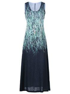 U Neck Sleeveless Graphic Dress - BLACK/GREEN L