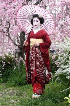 A Maiko wearing a Susohiki kimono