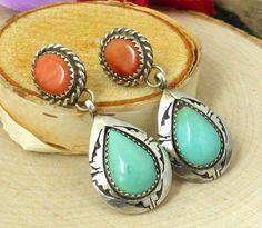 E. Secatero Navajo Sterling Silver, Turquoise, & Spiny Oyster Shell Earrings!! #ESecatero