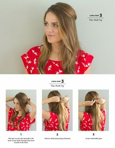 the half up - hair tuto - Coiffure 02 Casual Hairstyles For Long Hair, Work Hairstyles, Professional Hairstyles, Hairstyles For Teachers, Professional Long Hair, Half Up Long Hair, Teacher Hair, Medium Hair Styles, Long Hair Styles