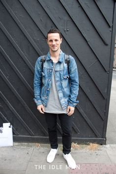 Men's Street Style - Denim Jacket with Backpack